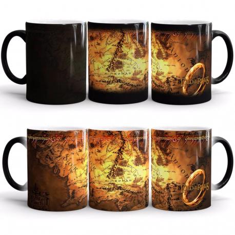 Mug thermoréactif Seigneur des anneaux carte de la Terre du milieu