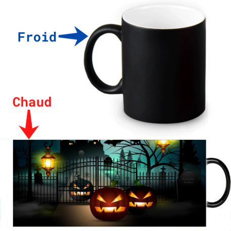 Mug thermoreactif Halloween Citrouilles en chasse
