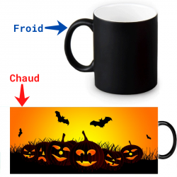 Mug thermoreactif  Halloween Chauve-souris citrouille