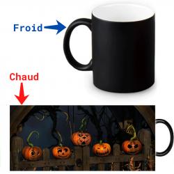 Mug thermoreactif  Citrouilles d'Halloween effrayantes