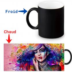 Mug magique peinture a huile de femme